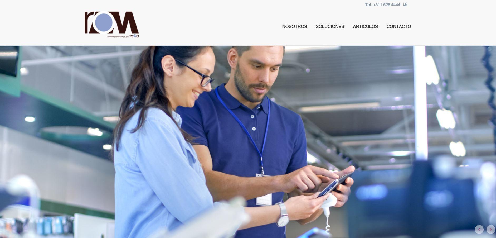 Página de Inicio website ROM Perú