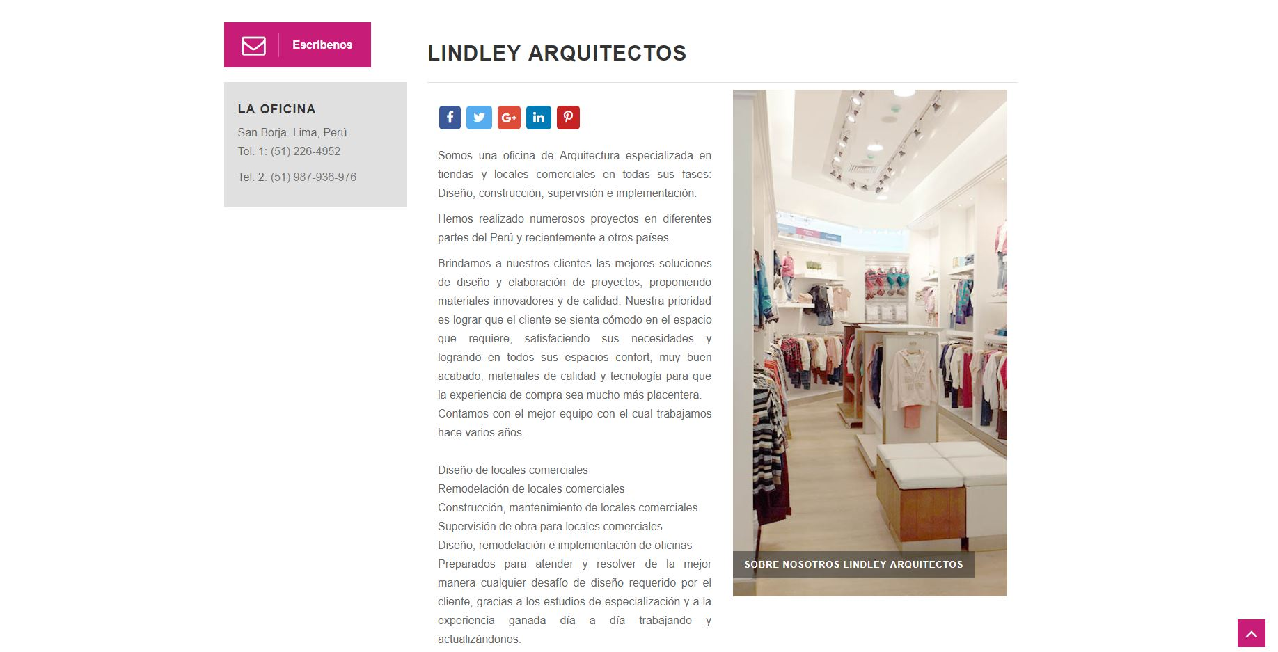 Outsourcing Digital a Lindley Arquitectos, Perú